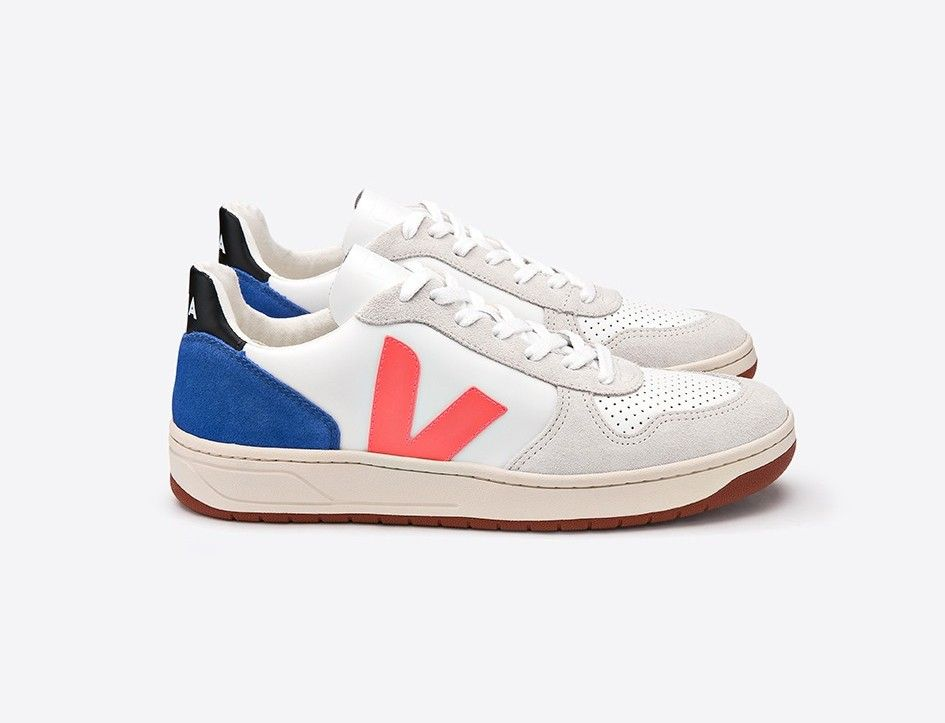 VEJA_V-10_LEATHER_EXTRA WHITE_ORANGE FLUO_INDIGO_LATERAL